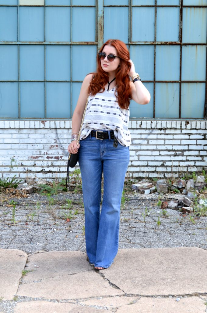 Tobi Strappy Bralette with Open Back Tank and Madewell Flea Market Flares Summer Denim Outfit - Oh Julia Ann (1)
